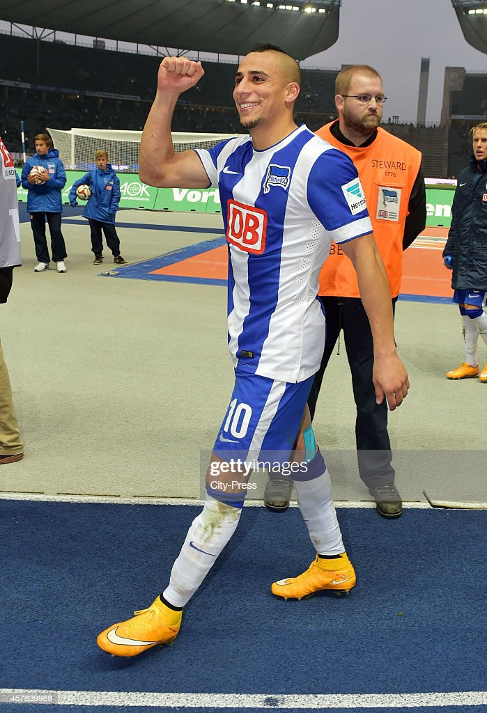 Aenis Ben-Hatira of Hertha BSC laughs during the game between Hertha BSC and Hamburger SV on October 25, 2014 in Berlin, Germany.