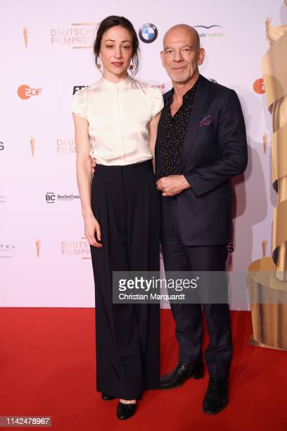Aenne Schwarz and Oliver Masucci attend the nominee dinner for the German Film Award 2019 Lola at BMW Niederlassung Berlin on April 13 2019 in Berlin...