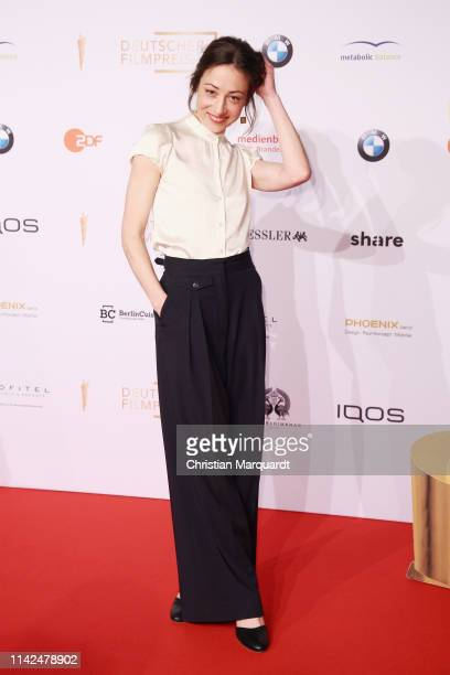 Aenne Schwarz attends the nominee dinner for the German Film Award 2019 Lola at BMW Niederlassung Berlin on April 13, 2019 in Berlin, Germany.