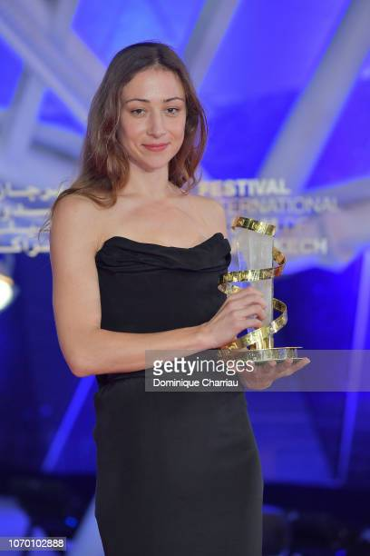 Aenne Schwarz poses with the award for best performance by an actress during the closing ceremony of the 17th Marrakech International Film Festival...