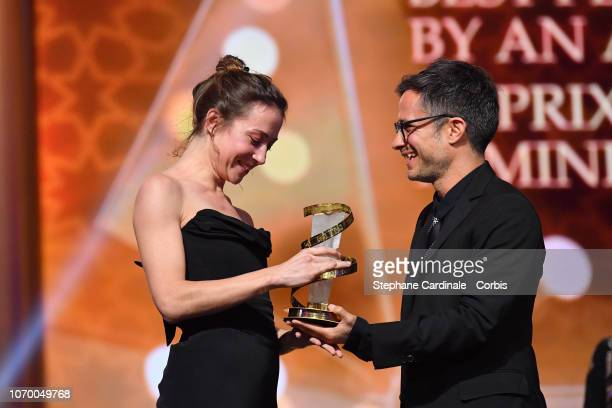 Aenne Schwarz Winner of best performance by an actress awarded by Gael Garcia Bernal during the Closing Ceremony of the 17th Marrakech International...