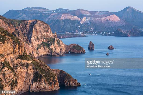 Aeolian Archipelago - View of Lipari coastline, the Island of Vulcano on the background