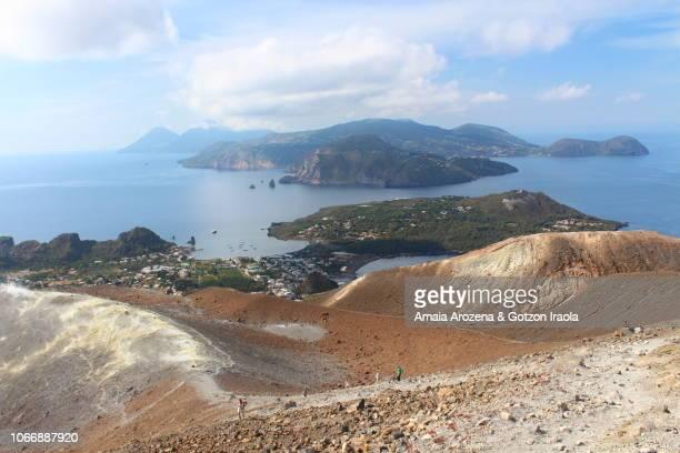 aeolian islands, italy. lipari island from vulcano island - isole eolie foto e immagini stock