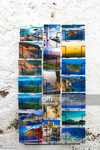 Aeolian Islands, Sicily: Postcards Hang on Old Whitewashed Wall
