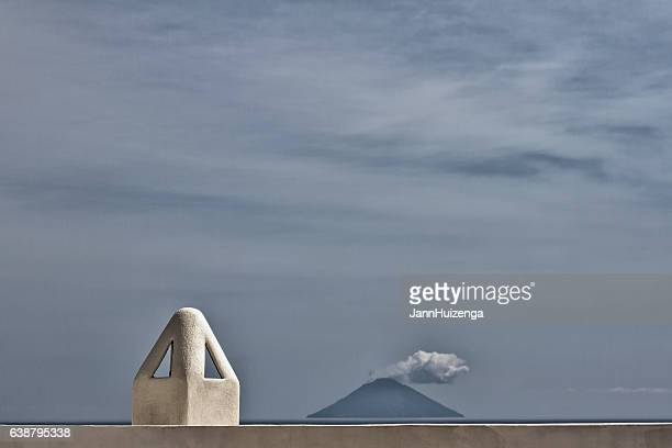 Aeolian Islands: Volcanic Stromboli, Traditional Chimney Pot, Stormy Sky