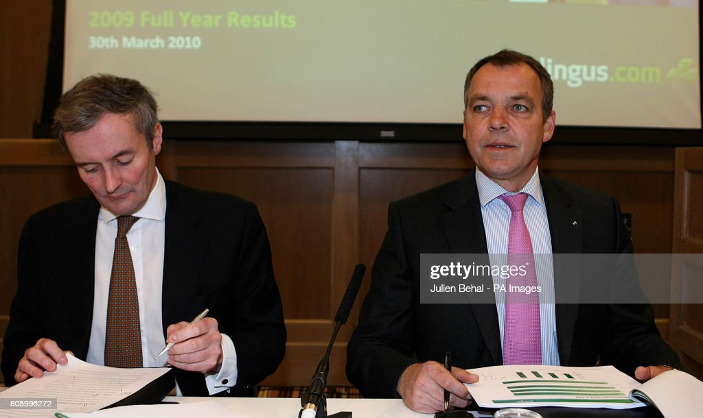 Aer Lingus Chief Executive Christoph Mueller Right And Andrew Mcfarlane Financial Officer