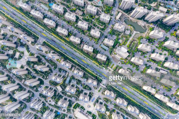 aerail view of residential district - liyao xie stock pictures, royalty-free photos & images