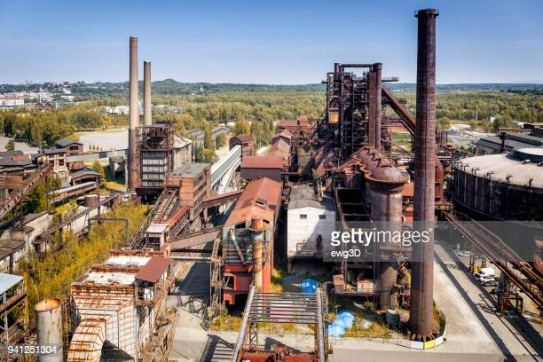 aeral viev of the old closed coal mine and steel mill - mine elevator stock pictures, royalty-free photos & images