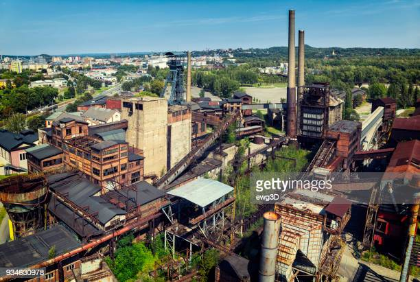 aeral viev of the old closed coal mine - mine elevator stock pictures, royalty-free photos & images