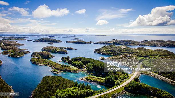 aeral view of islands in hordaland, norway - 北海 ストックフォトと画像