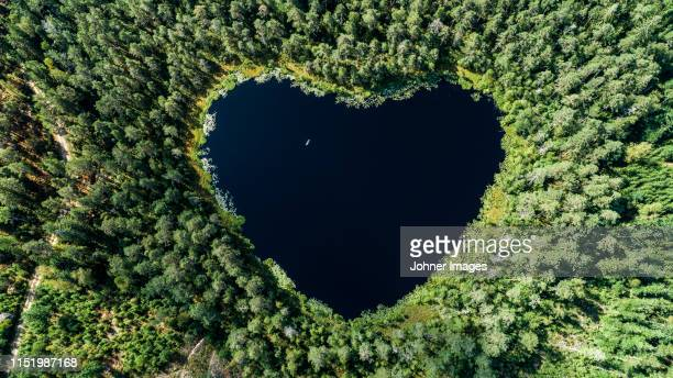 aereal of heart shaped lake - milieu stockfoto's en -beelden