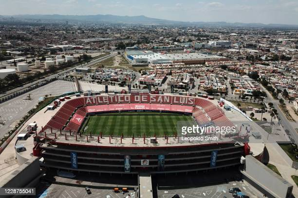 Aereal view of an empty Alfonso Lastras Stadium prior the 12th round match between Atletico San Luis and Leon as part of the Torneo Guard1anes 2020...