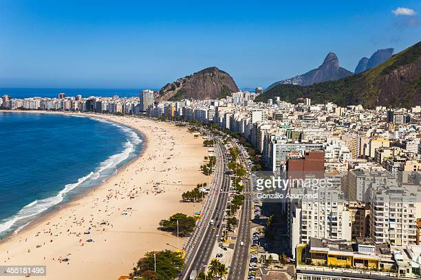 aereal view of copacabana beach in rio de janeiro. - copacabana beach stock pictures, royalty-free photos & images