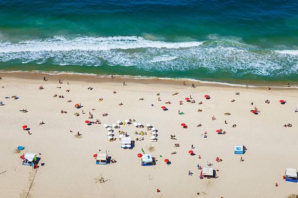 Aereal view of Copacabana beach in Rio de Janeiro.