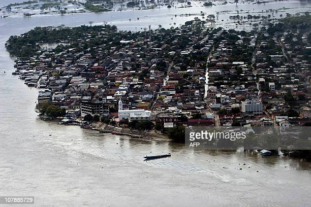 KIEFFER Aereal view of El Banco department of Bolivar Colombia on December 21 after the Magdalena river overflowed its banks due to heavy rains AFP...