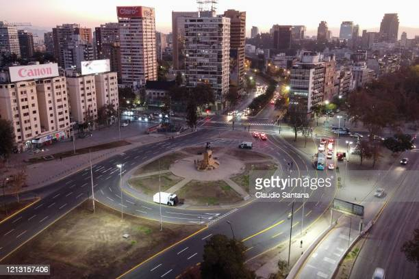 Aereal view of main avenue in downtown Santiago before the metropolitan area of Santiago enters in a government-ordered lockdown on May 15, 2020 in...