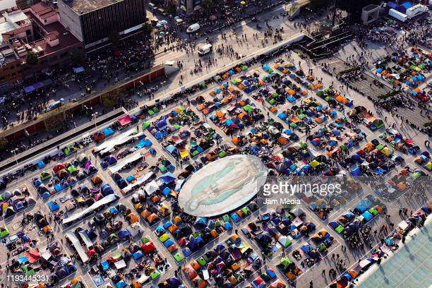 Aereal view of the atrium of Basilica de Guadalupe with thousands of faithful pilgrims during the celebration of the day of Virgin of Guadalupe on...