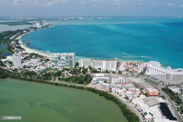 Aereal view of the Caribbean sea and the lagoon in the touristic zone, after the passage of Hurricane Delta in Cancun, Quintana Roo state, Mexico, on...