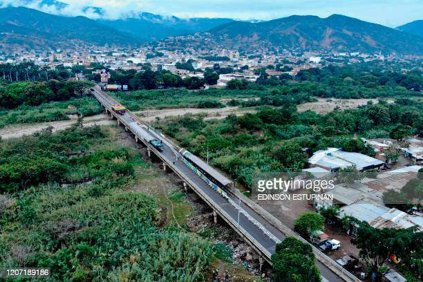Aereal view of the closed Simon Bolivar International Bridge to prevent the spread of the new Coronavirus, COVID-19 in Cucuta, Colombia on March 14,...
