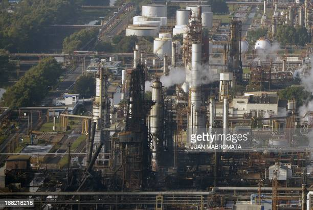 Aereal view of the refinery of Argentine state-owned oil company YPF, in La Plata some 60 Km south of Buenos Aires, Argentina on April 3, 2013....
