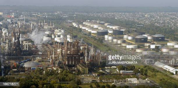 Aereal view of the refinery of Argentine stateowned oil company YPF in La Plata some 60 Km south of Buenos Aires Argentina on April 3 2013 Argentine...