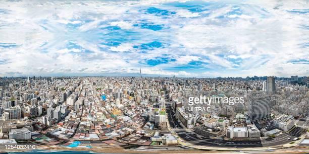 aerial 360vr at tokyo taito - 全天周パノラマ ストックフォトと画像