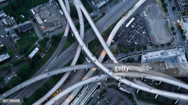 Aerial above Marquam Bridge overpass