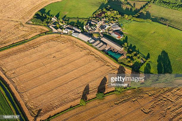 Aerial agriculture crops fields farm green pasture