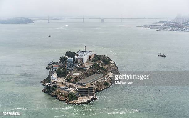 aerial alcatraz island - san francisco - alcatraz stock photos and pictures