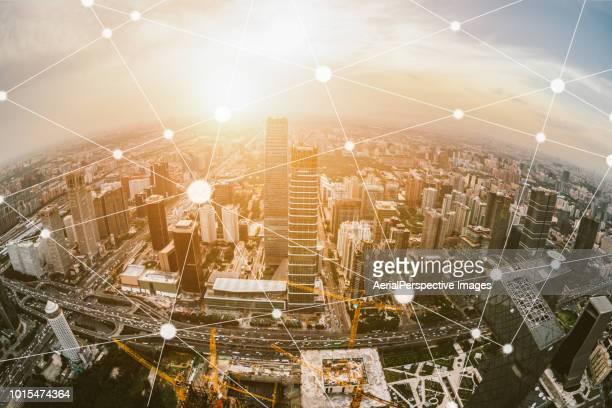 Aerial  and Fisheye View of Beijing Skyline
