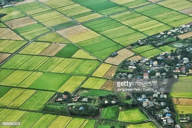 Aerial Angle View Of Agricultural Field