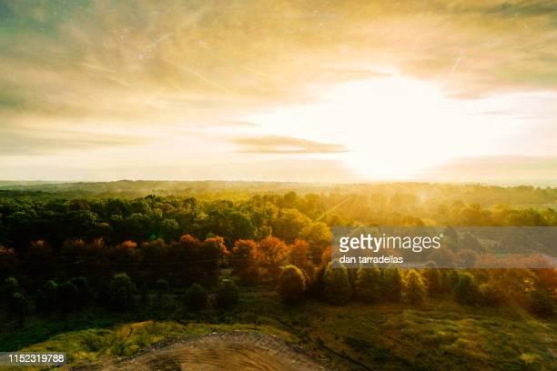 aerial autumn sunrise - ニュージャージー州 プリンストン ストックフォトと画像