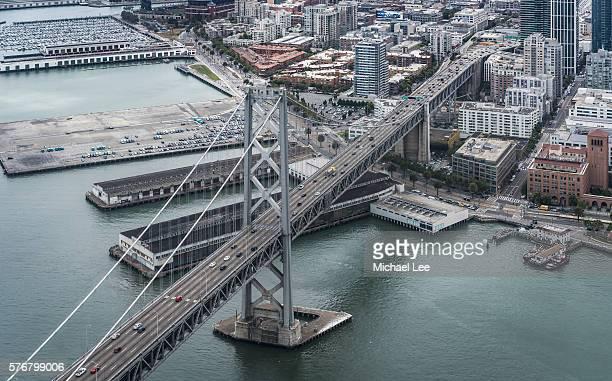 aerial bay bridge - san francisco - bay bridge stock pictures, royalty-free photos & images