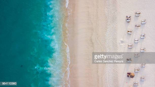 aerial beach view - beach stockfoto's en -beelden