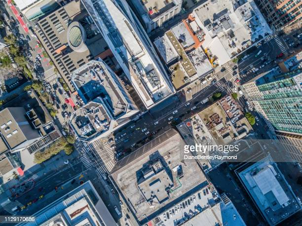 aerial birds eye view of san francisco  fiancial disrict - overhead view stock pictures, royalty-free photos & images