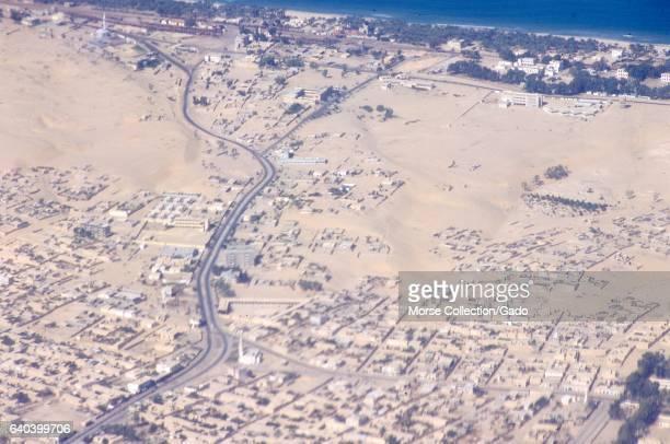 Aerial birdseye view of the town of El Arish Gaza Israel on the Mediterranean Sea coastline November 1967
