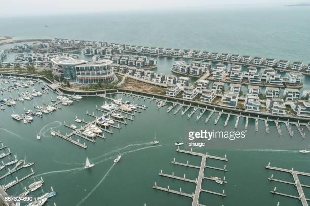 Aerial blue ocean northeast of xiamen yacht club