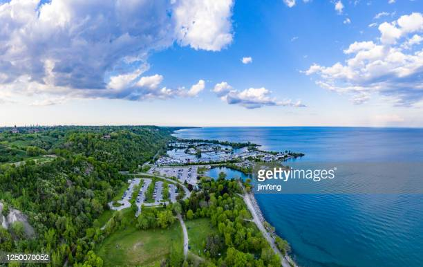 aerial bluffers park - cliff park panoramic view,  scarborough, canada - great lakes stock pictures, royalty-free photos & images