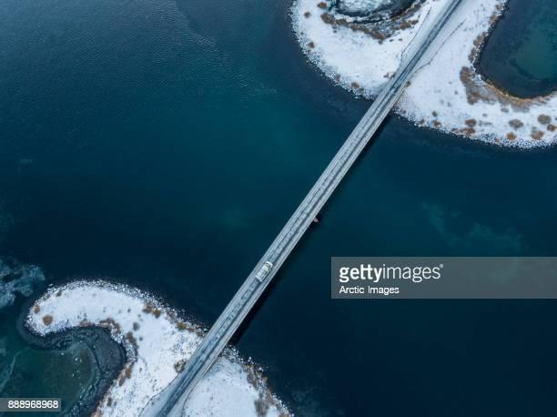 aerial - bridge in the winter, iceland - drohnenperspektive stock-fotos und bilder