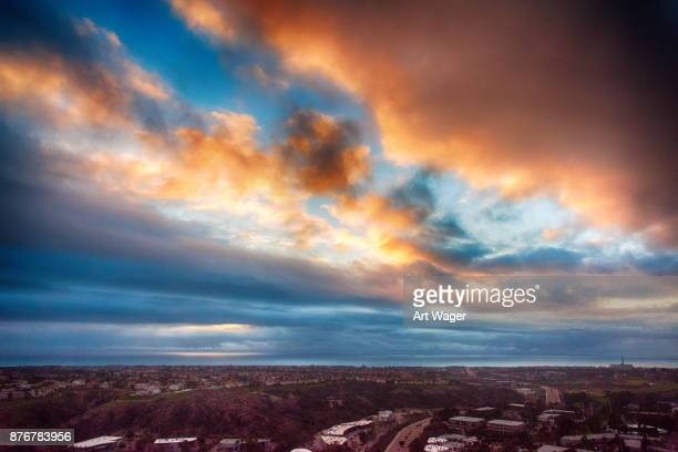 aerial carlsbad sunset - carlsbad california stock pictures, royalty-free photos & images