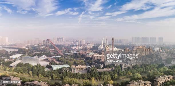 aerial changzhou cityscape, jiangsu, china - changzhou stock pictures, royalty-free photos & images