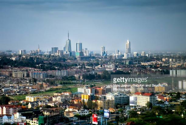 aerial city view of nairobi, kenya in july - nairobi stock pictures, royalty-free photos & images