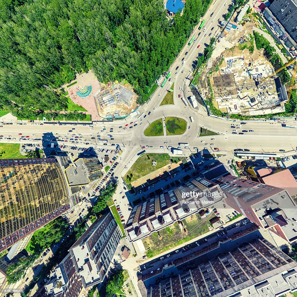 Aerial city view. Urban landscape. Copter shot. Panoramic image. : Stock Photo