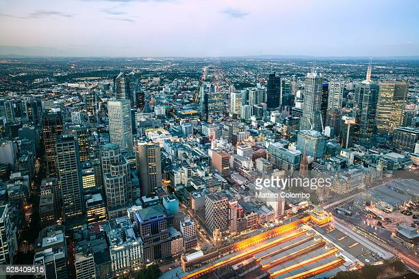 Aerial cityscape at sunset, Melbourne