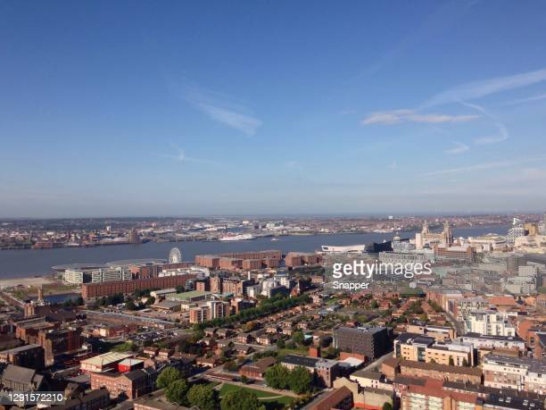 aerial cityscape, liverpool, merseyside, england, uk - liverpool england stock pictures, royalty-free photos & images