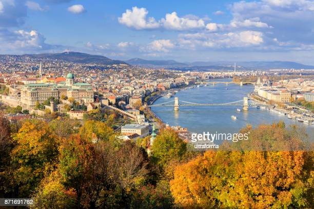 aerial cityscape of budapest in the autumn season - danube river stock pictures, royalty-free photos & images