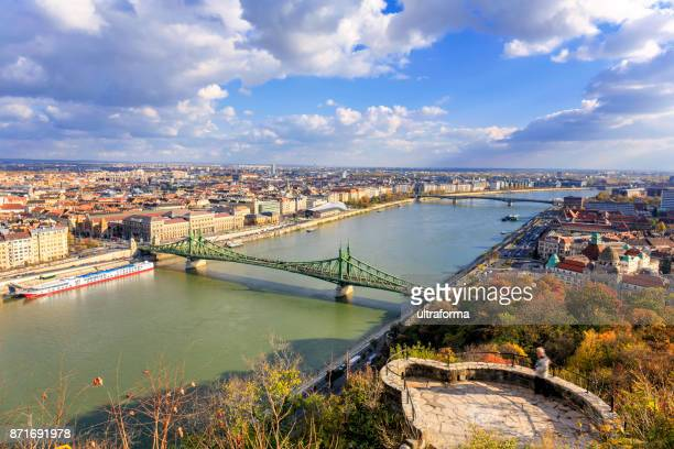 Aerial cityscape of Budapest in the autumn season