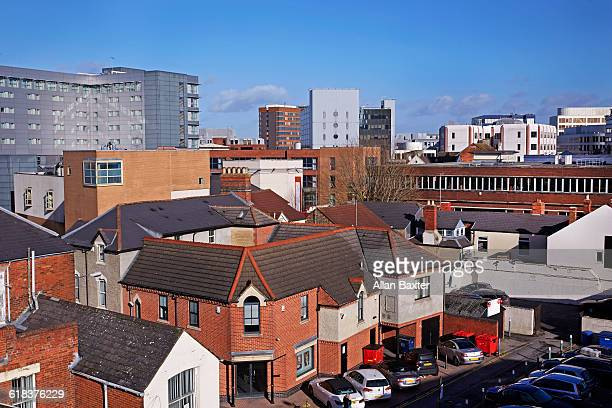 Aerial cityscape of central Swindon