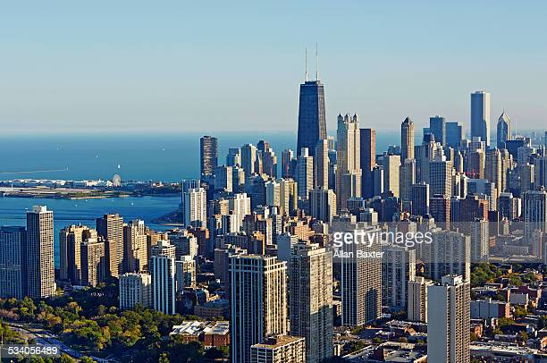 Aerial cityscape of Chicago and Lake Michigan