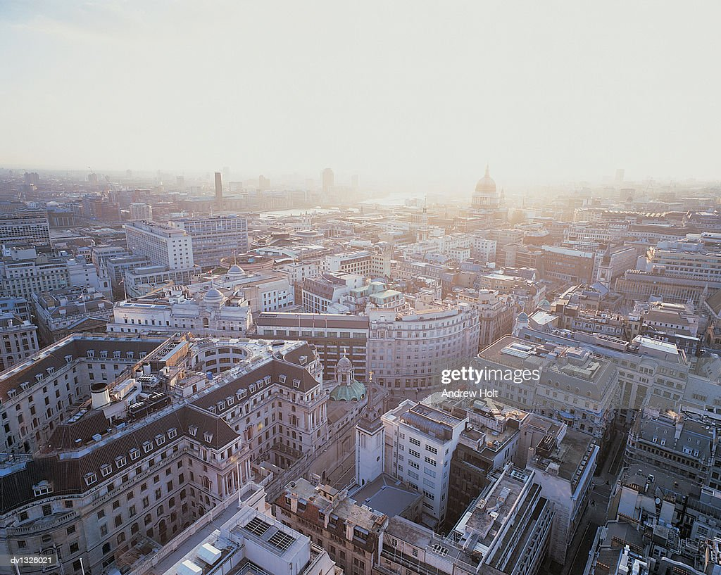 Aerial Cityscape of London Showing St Pauls Cathedral, United Kingdom : Stock Photo